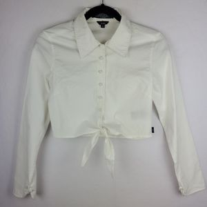 TOMMY HILFIGER White Cropped Button Tie Blouse